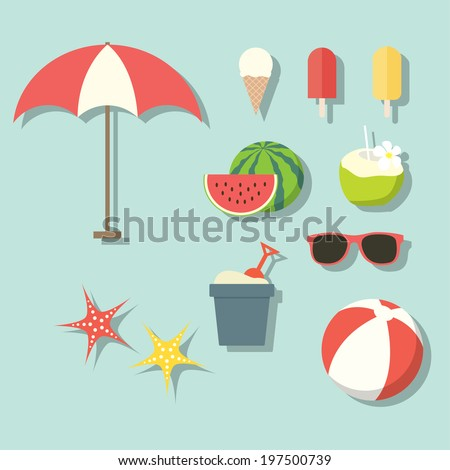 Summer activities elements - stock vector