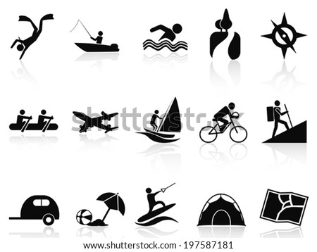 summer activities icons set