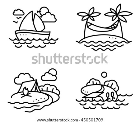 Summer activity icons set in line thin style with fishing, yachting, relaxing and camping people - stock vector