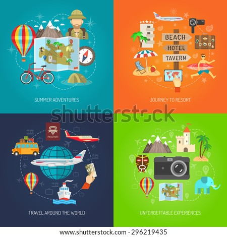 Summer adventure journey to resort and travel around world flat color decorative icon set isolated vector illustration - stock vector