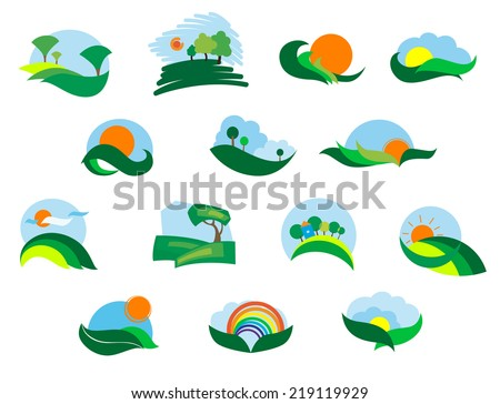 Summer and autumn agricultural landscape icons set with fields, meadows, sun, sky, tree and hills - stock vector