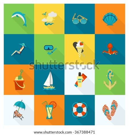 Summer and Beach Simple Flat Icons - stock vector