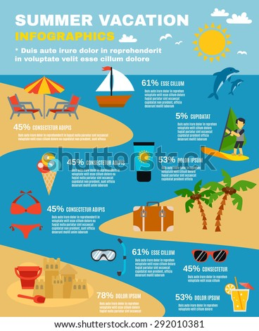 Summer and sea infographic set with dolphins beach and palms flat vector illustration  - stock vector