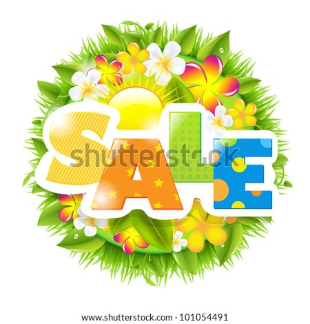 Summer And Spring Sale Template, Isolated On White Background, Vector Illustration - stock vector
