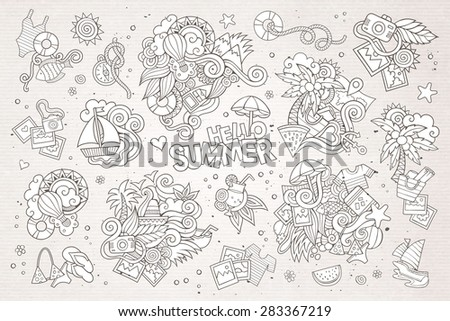 Summer and vacation hand drawn vector symbols and objects - stock vector