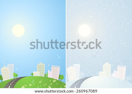 Summer and winter city backgrounds. The same city in summer and in winter time. There is place in the sky for your text. - stock vector