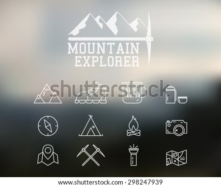 Summer and winter mountain explorer camp badge, logo template. Travel, hiking, climbing line icons. Thin and outline design. Outdoor. Best for adventure sites. On blurred background. Vector. - stock vector