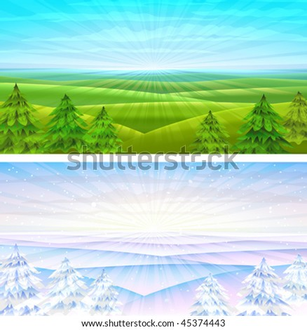Summer and winter rolling sceneries with fir-trees (other landscapes are in my gallery) - stock vector