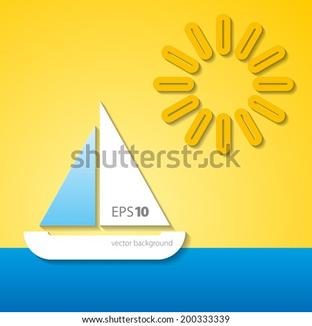 Summer background - boat on the sea and sunny day - stock vector