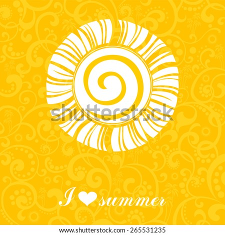 Summer background. I love summer. Vector illustration - stock vector
