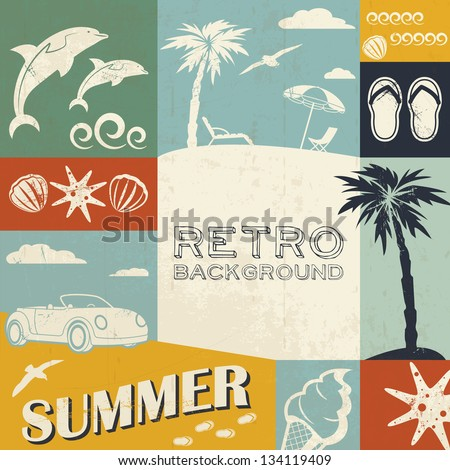 Summer background in retro style - stock vector