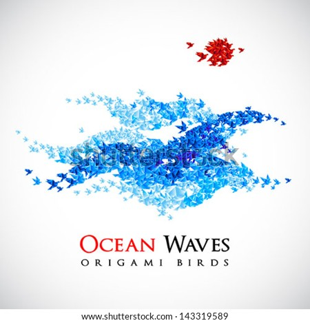 summer background - origami ocean waves shaped from flying paper birds - vector - stock vector