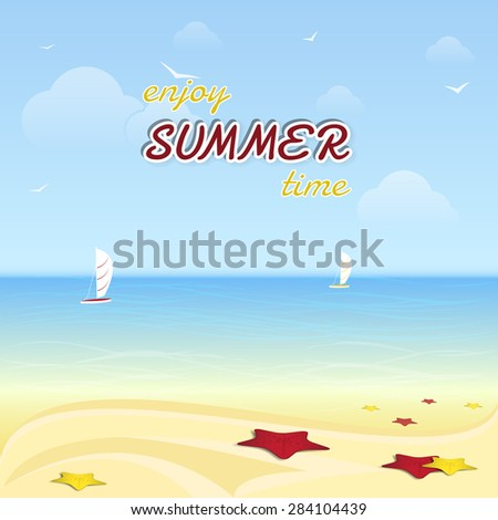 Summer background/summer vacation at the seaside, vector illustration - stock vector