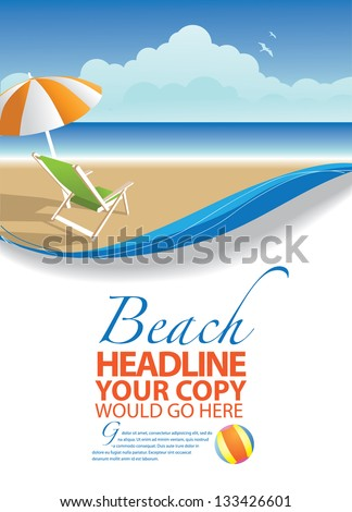Summer background template. EPS 8 vector, grouped for easy editing. No open shapes or paths. - stock vector