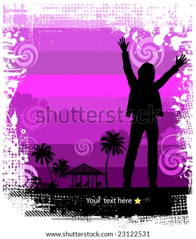 Summer background, tropical sun-splash with palm trees and girl (vector)