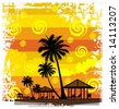 Summer background, tropical sun-splash with palm trees so you can add your own images (vector) 2 - stock photo
