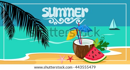 Summer background, vector illustration on the beach with waves, clouds and a palm leaves, a boat on the horizon, and in the foreground in a coconut cocktail , seaside view poster. Vector illustration - stock vector