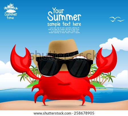 Summer background with a cute cartoon crab