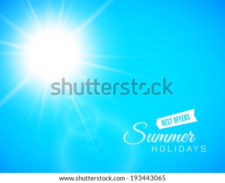 Summer background with a summer sun burst with lens flare, blue vector illustration - stock vector