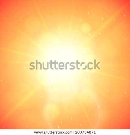 Summer background with a summer sun burst with lens flare, orange vector illustration - stock vector
