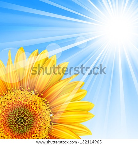Summer background with blue sky and sunflower.Mesh. Clipping Mask.This file contains transparency.EPS10