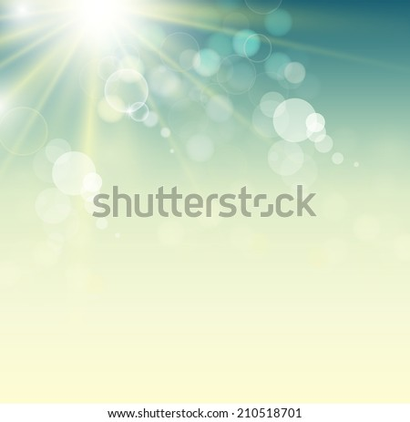 Summer background with bright sun - stock vector