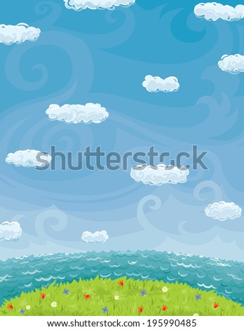 Summer Background With Cloudy Sky Sea And Lawn - stock vector