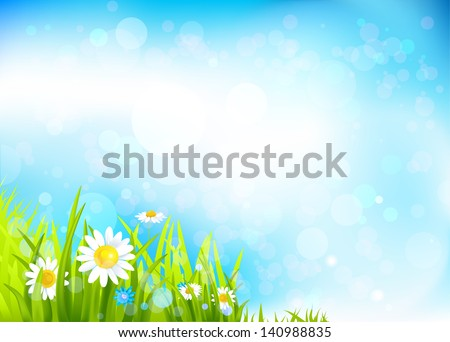 Summer background with flowers and grass. Space for text - stock vector