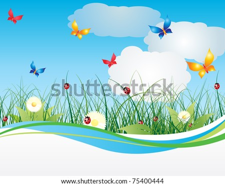 Summer background with flowers and sky - stock vector