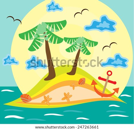 Summer background with huge island, clouds, waves - stock vector