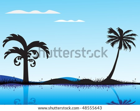 summer background with palm tree, - stock vector