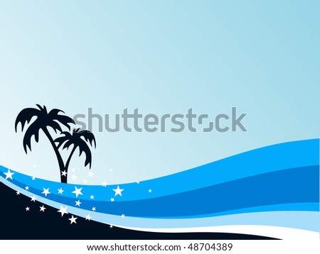 summer background with palm tree and blue wave - stock vector