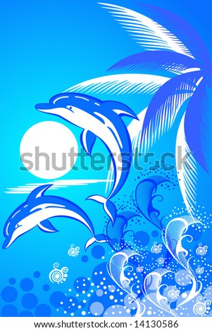 Summer background with palm tree and  two dolphins
