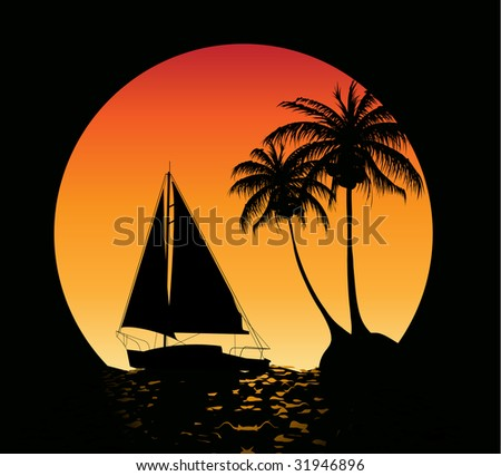 Summer background with palm trees and a yacht on the ocean - stock vector