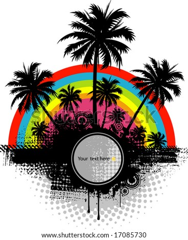 Summer background with palm trees and rainbow - stock vector