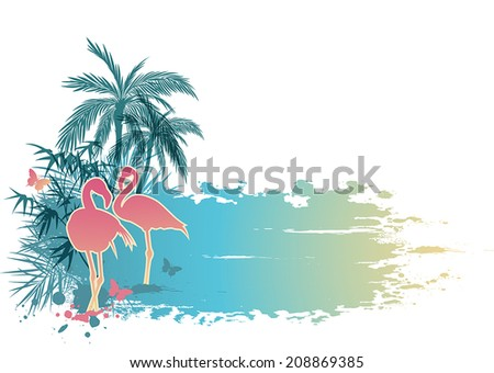 Summer background with palms and pink flamingo