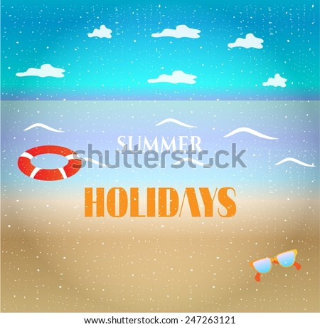 Summer background with sandy beach, clouds, waves - stock vector