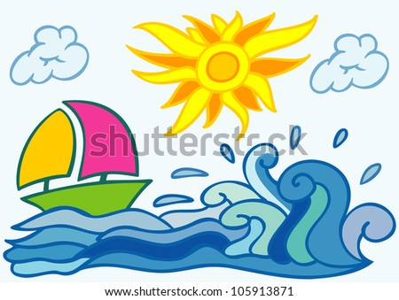 Letter sea summer wavy alphabet vector stock vector for Clipart estate