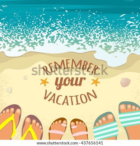 Summer background with sea, sand beach, feet in sandals and place for text, vector image