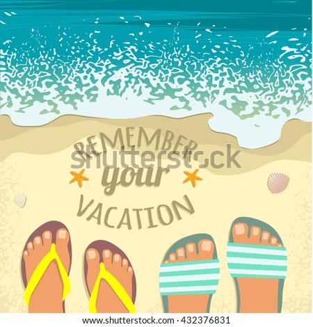 Summer background with sea, sand beach, pair of feet in sandals and place for text, top view, vector image