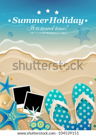 Summer background with shells and pictures on sand. Vector illustration. - stock vector