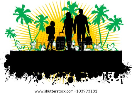 Summer background with silhouette family