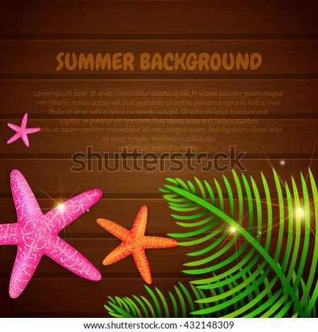 Summer background with starfishes and palm leaves with place for text. Vector illustration