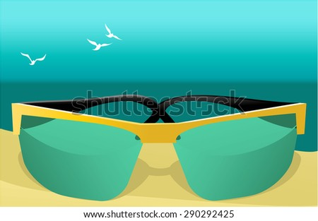 Summer background with sunglasses - stock vector