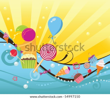 summer background with sweets and ice creams - stock vector