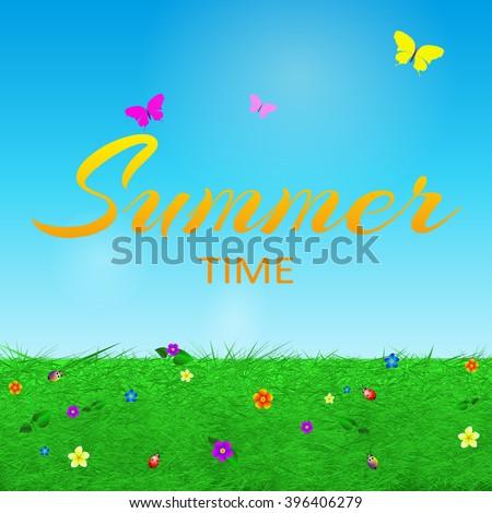 Summer background with text, grass, flowers, butterflies , beetles, cartoon vector illustration.  - stock vector