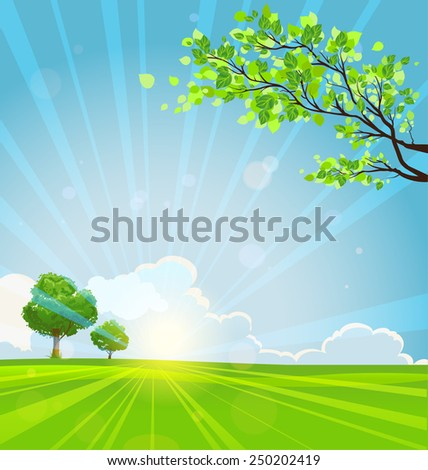 Summer background with trees and sunbeams. Copy space  - stock vector