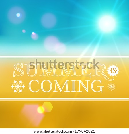 Summer background with typograpy, vector - stock vector