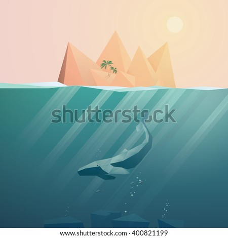 Summer background with underwater seascape scene and sunbeams in the ocean. Whale and tropical island elements. Eps10 vector illustration. - stock vector