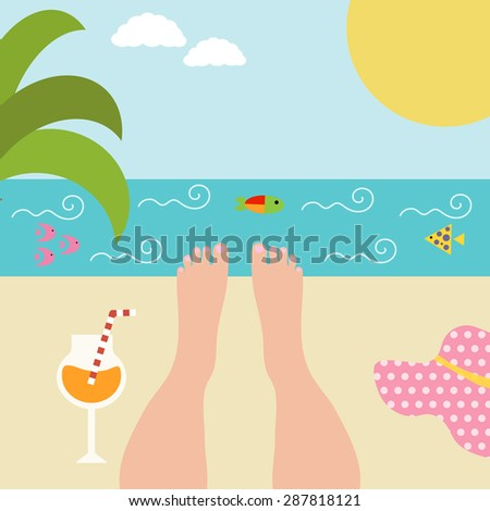 Summer background with women's feet at the seaside. Relax near the ocean with a cocktail. Vector illustration - stock vector
